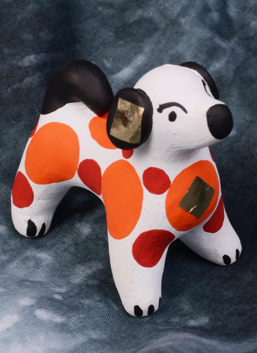 Дымковская игрушка Собачка №1 (5 см)