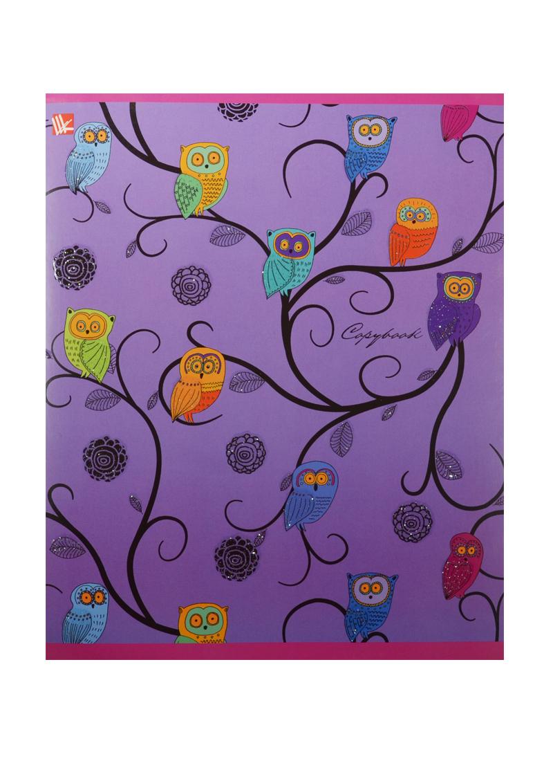 """Тетрадь 48л кл. """"Разноцветные совы (орнамент)"""" мел.картон, выб.лак, блестки, ассорти, Unnika"""