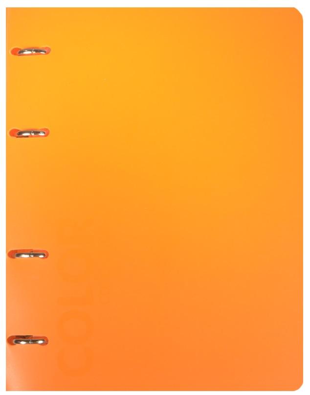 "Тетрадь 120л кл. ""NEON ORANGE"" на кольцах, смен.блок., разделители, пластик.обл., ярко-оранжевая, 83328, stila"