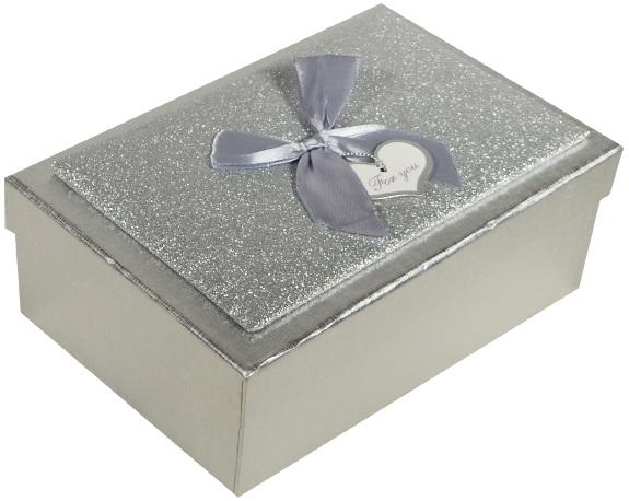 "Коробка подарочная ""Металлик серебро""  14,5*21,5*7,5см"