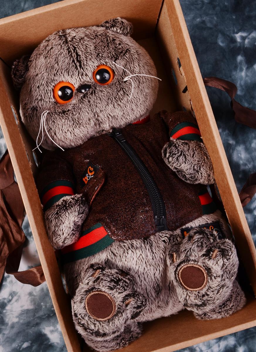 Мягкая игрушка Басик в кожаной куртке (30 см)