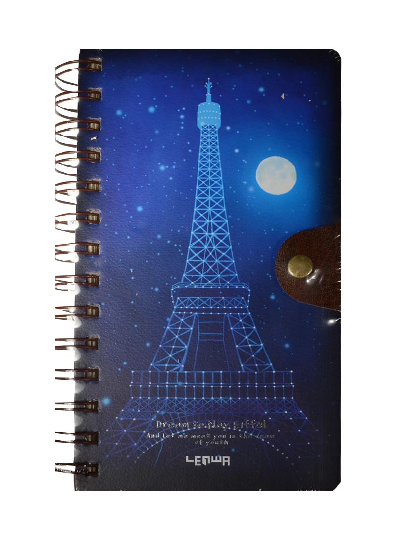 Блокнот Ночной Париж на пружине с кнопкой (196стр) (10,5х18,5)