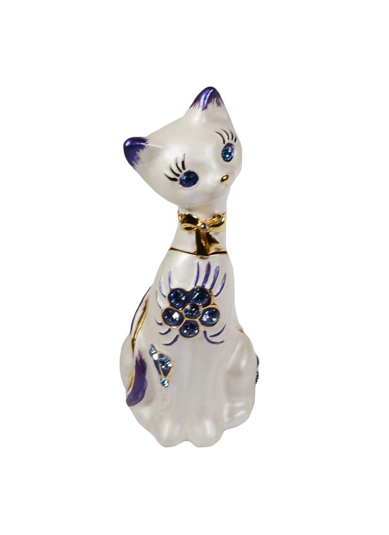 "Шкатулка ""Кошка сидячая"" голубые камни правая (08-181-3) (AD181-3)"