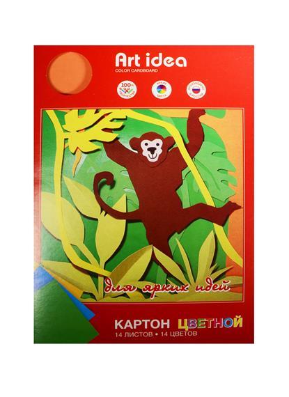 Картон цветной 14цв 14л А4 немелованный, в папке, Art idea