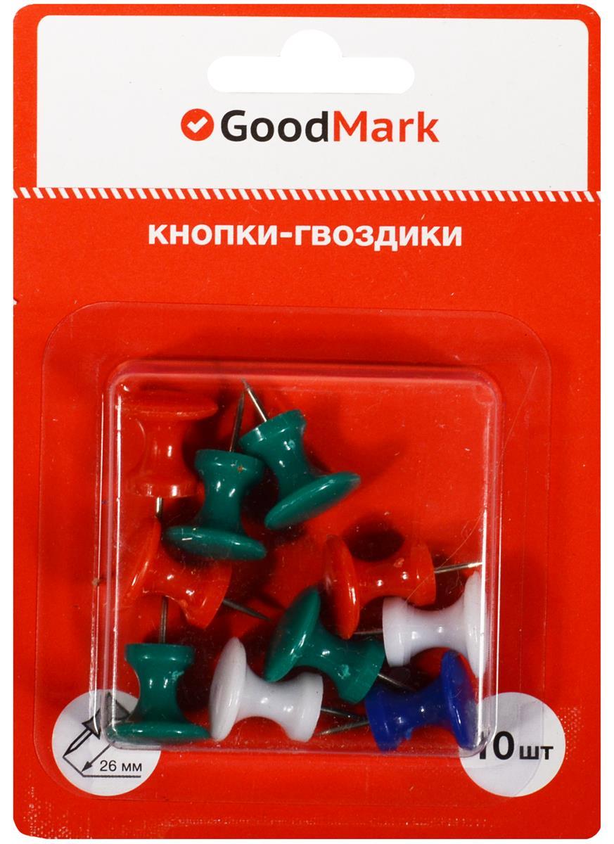 Кнопки гвоздики 26мм 10шт цветные, блистер, GoodMark