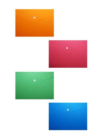 Папка-конверт А6 на кнопке, пластик 0,35мм, ассорти
