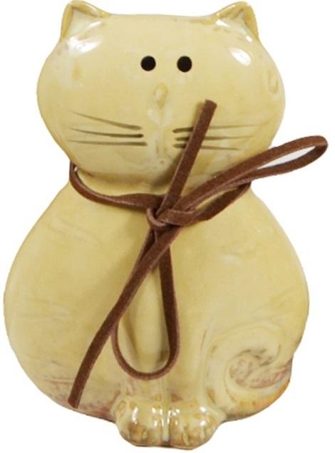 Керамическая глянцевая фигурка Кот со шнурком (9см)
