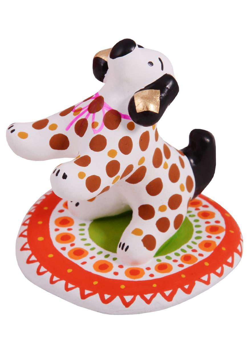 Дымковская игрушка Собачка на коврике