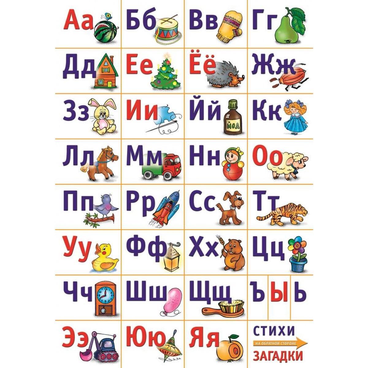 Алфавит русский разрезной. Азбука-картинки. Стихи-загадки