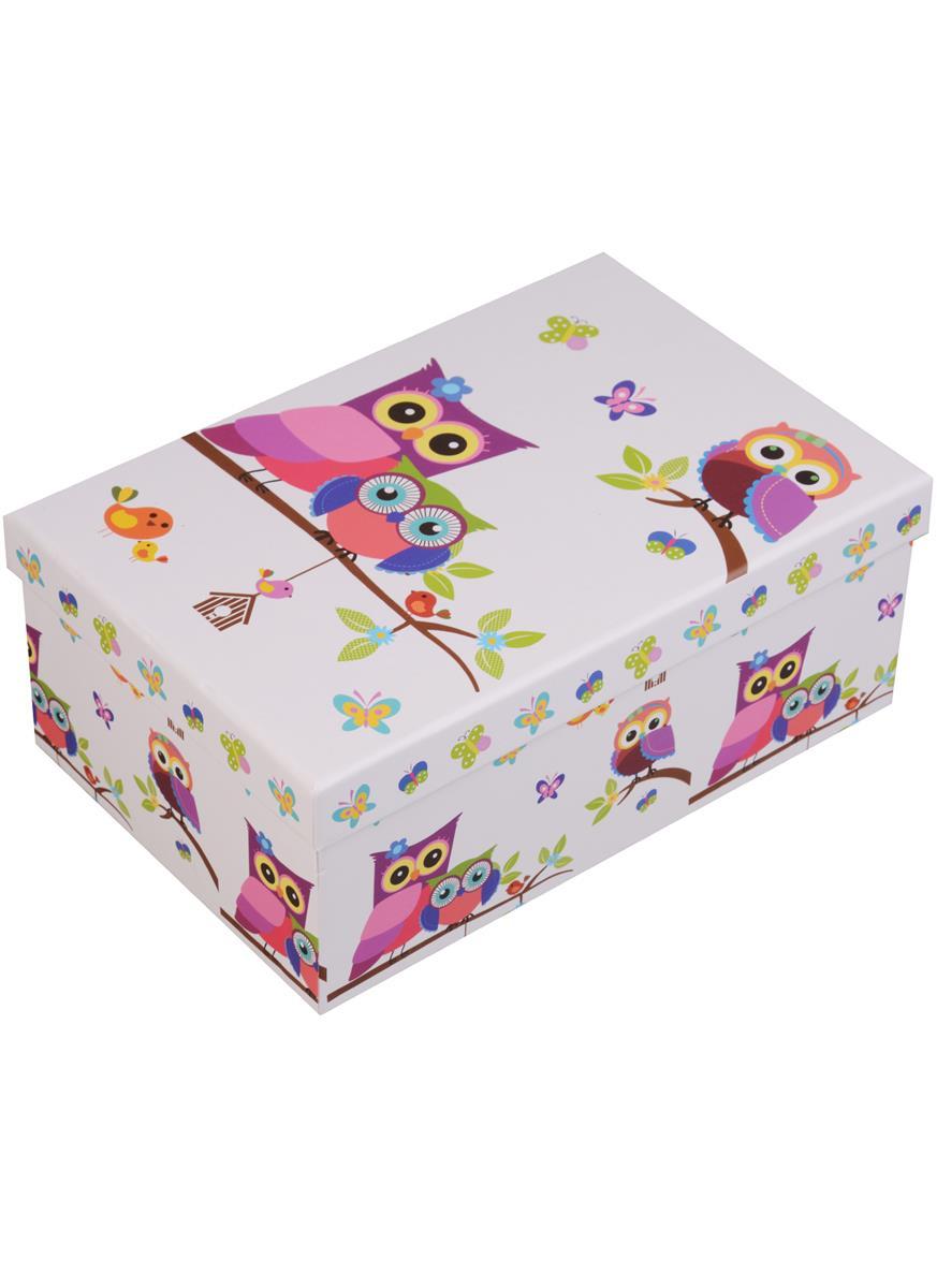 """Коробка подарочная """"Совы на белом"""""""