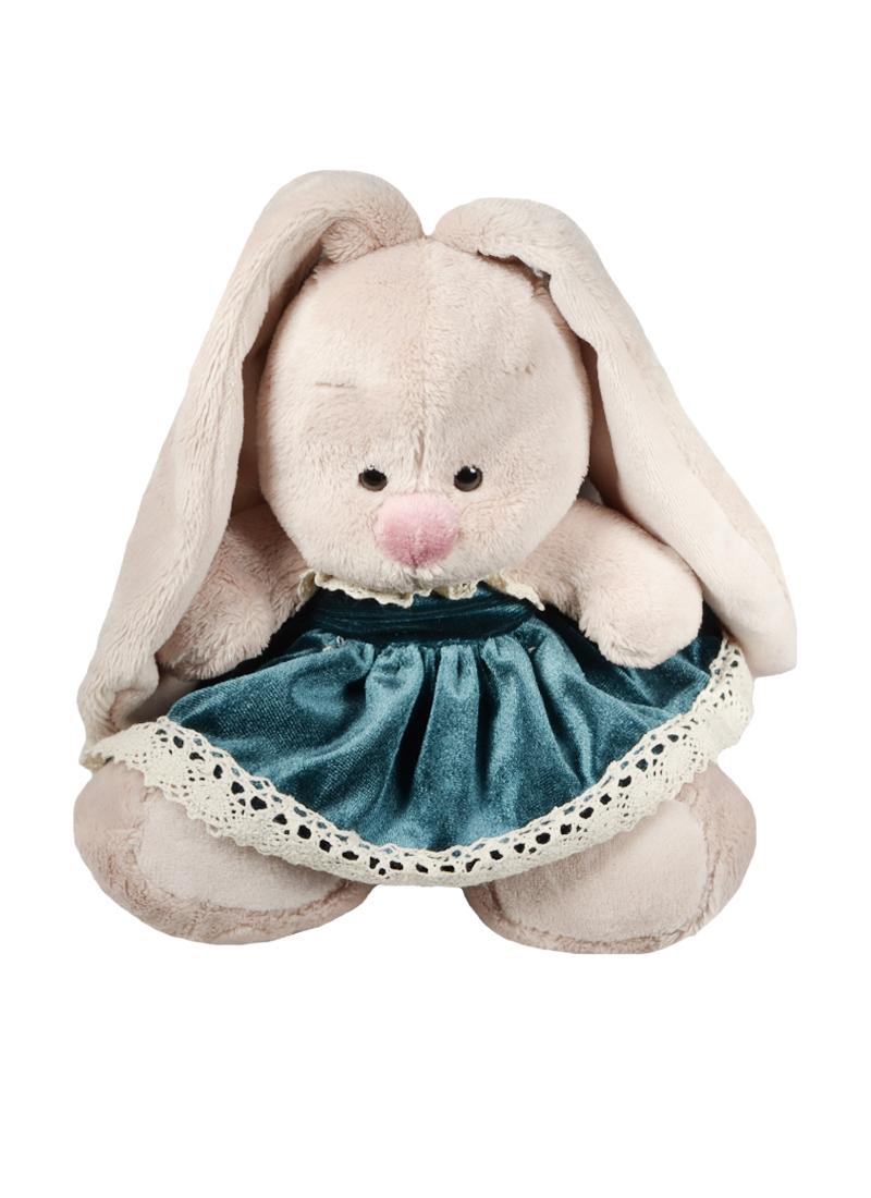 Мягкая игрушка Зайка Ми в бархатном платье и клубничкой на ушке (15 см) (SidX-146)