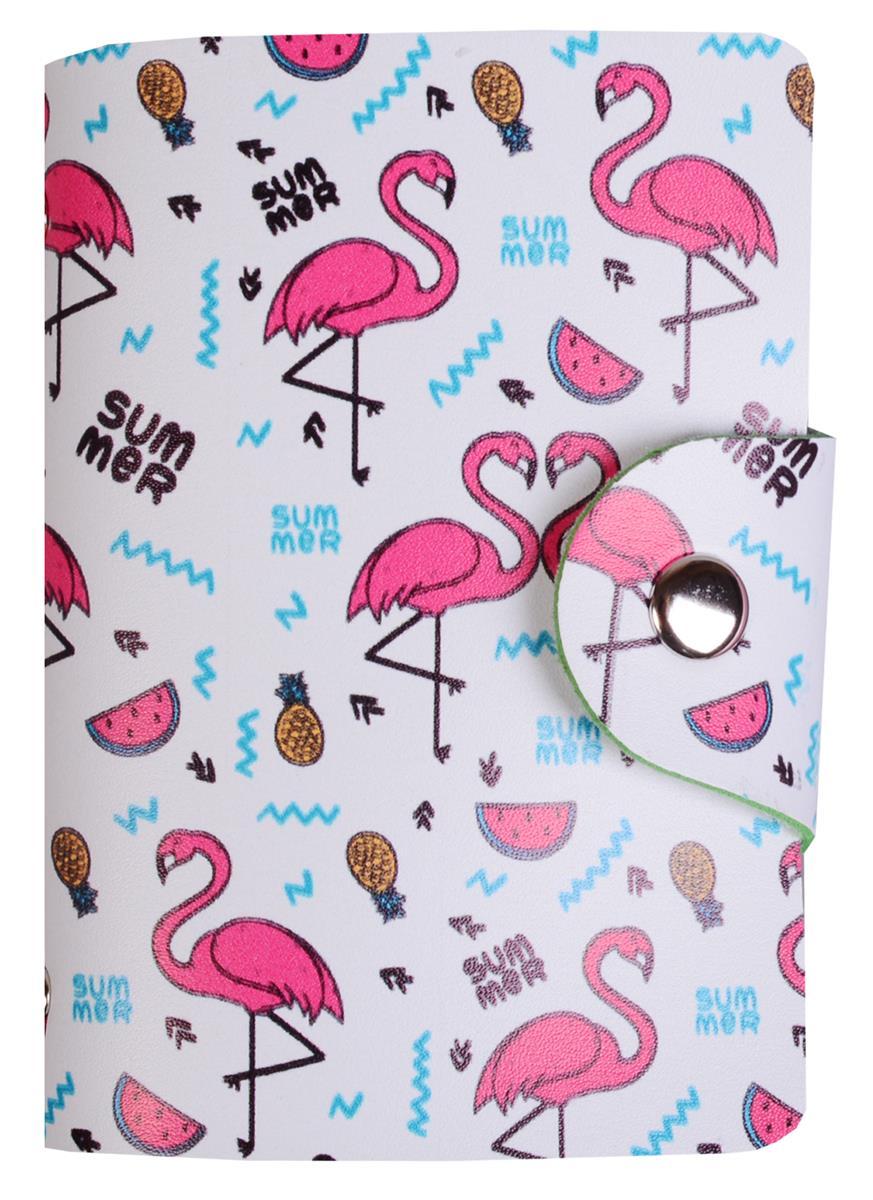 "Визитница 26 листов ""Фламинго"" на кнопке"