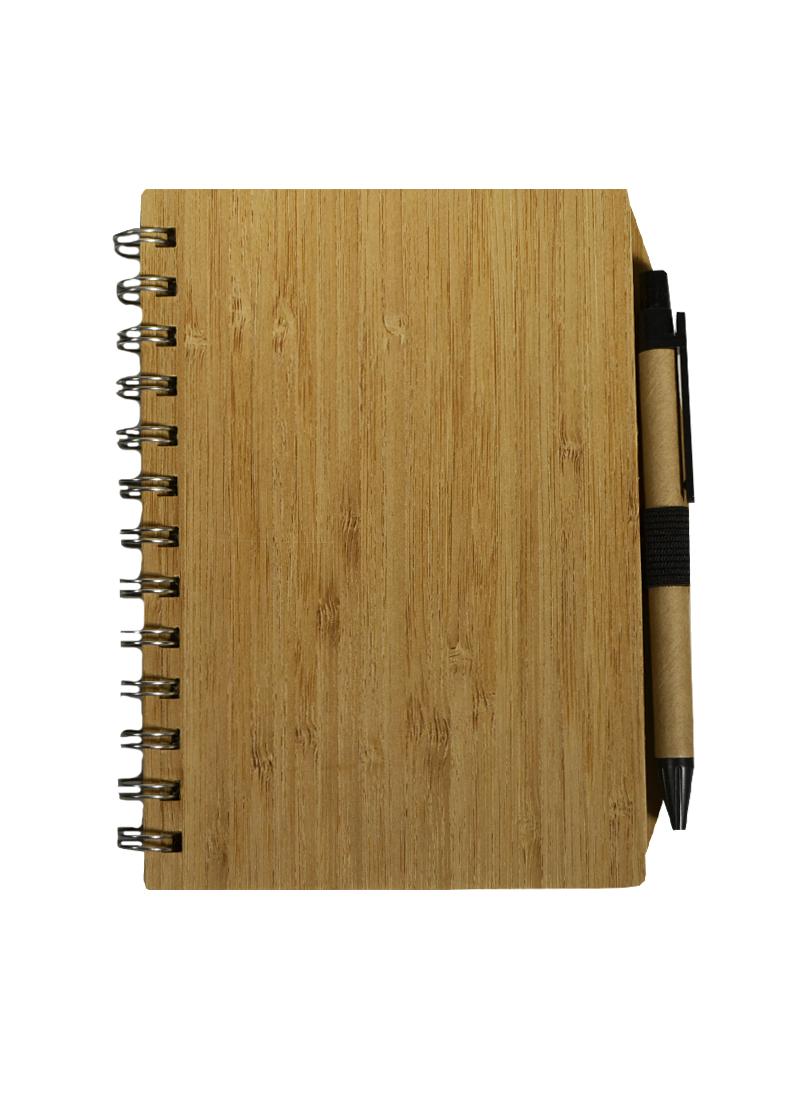 Блокнот А6 60л лин. дерев.обл., спираль, ручка шариковая черная, крафт-листы, инд.уп.