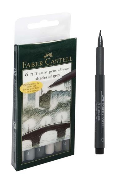 """Ручки-кисточки капиллярные 6цв профессиональные """"РITT"""" оттенки серого, Faber-Castell"""