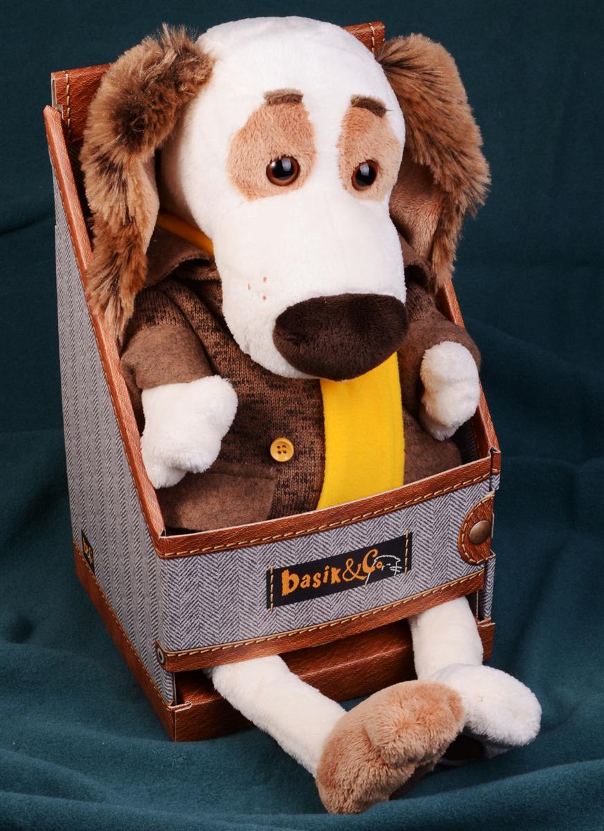Мягкая игрушка Такса Бартоломей в пальто (33 см)