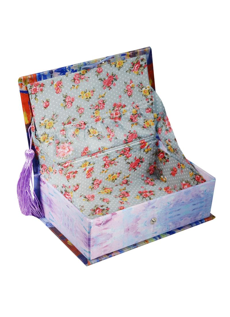 Шкатулка-книга с кисточкой текстиль Дождь в Париже (17х11х5) (40930)