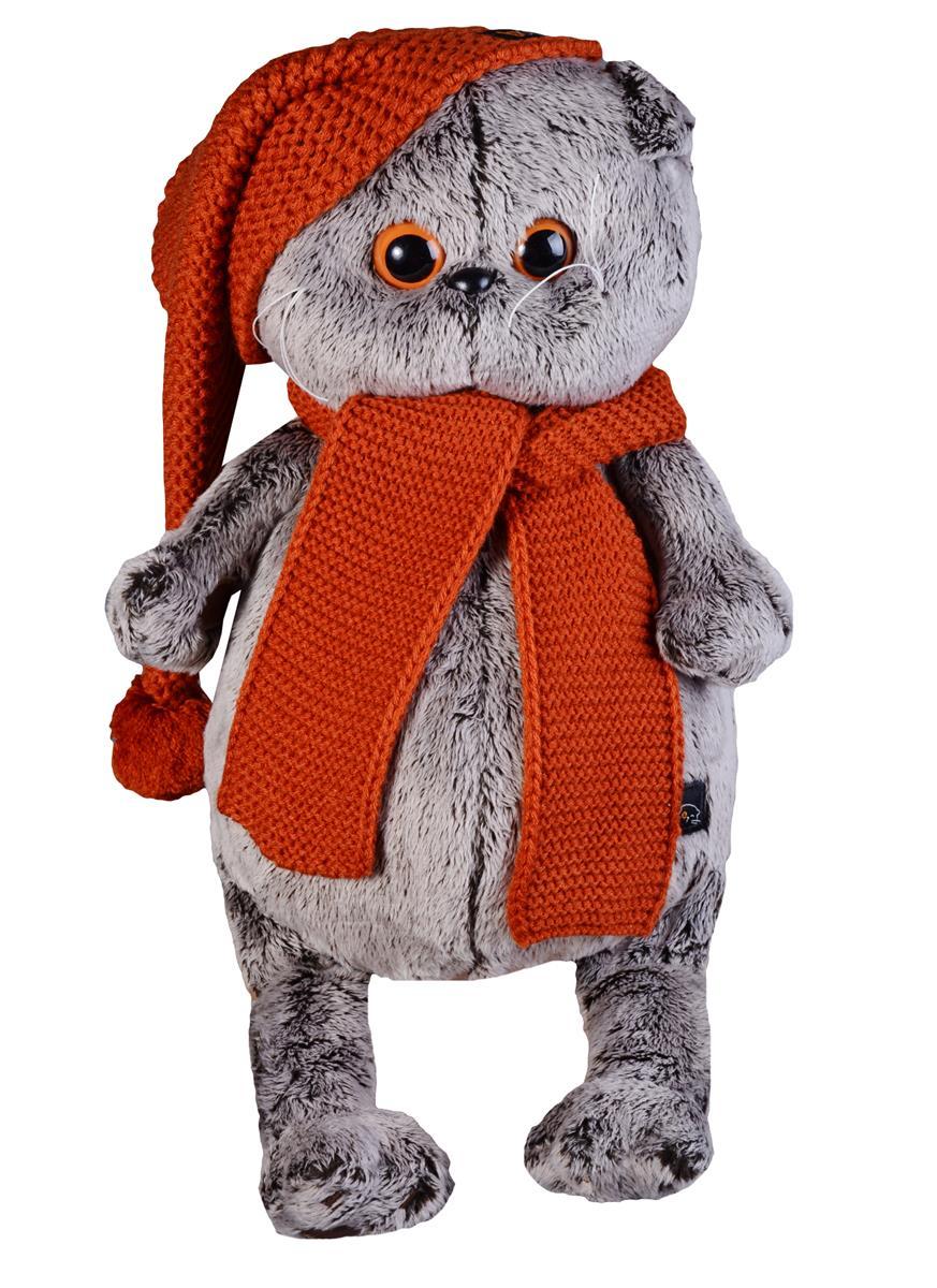 Мягкая игрушка Басик в вязаной  шапке и шарфе (30 см)