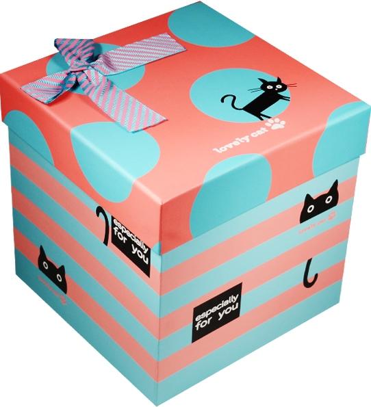 """Коробка подарочная """"Cat"""" розовая с голубым 14,5*14,5*14,5см"""