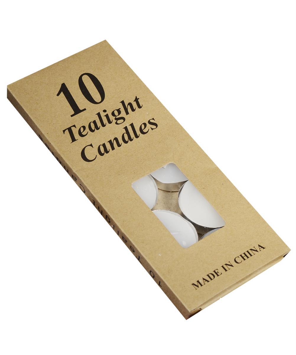 Набор чайных свечей в крафт коробке (10шт) (белые)