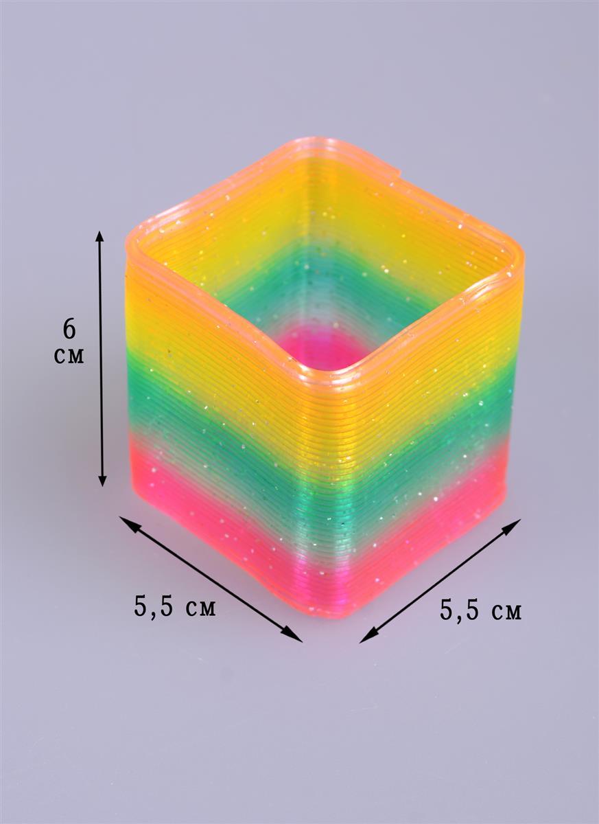 Головоломка Пружинка квадрат с блестками (6см) (коробка)