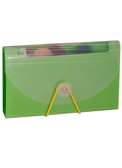 Папка на резинке B6, 12 отделений, пластик, ассорти