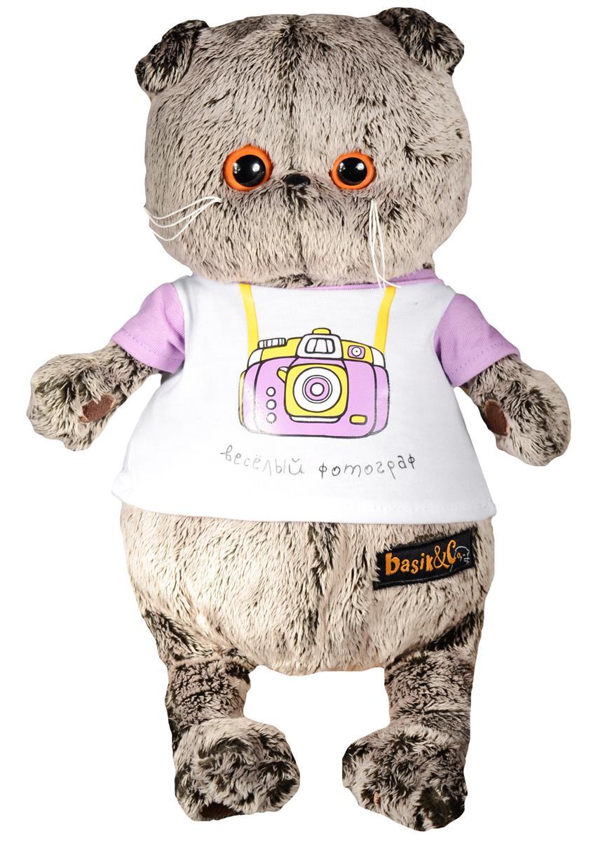 Мягкая игрушка Басик в футболке с принтом Весёлый фотограф (25 см)