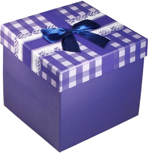 """Коробка подарочная """"Бант на синей клетке"""" 14*14*13см"""