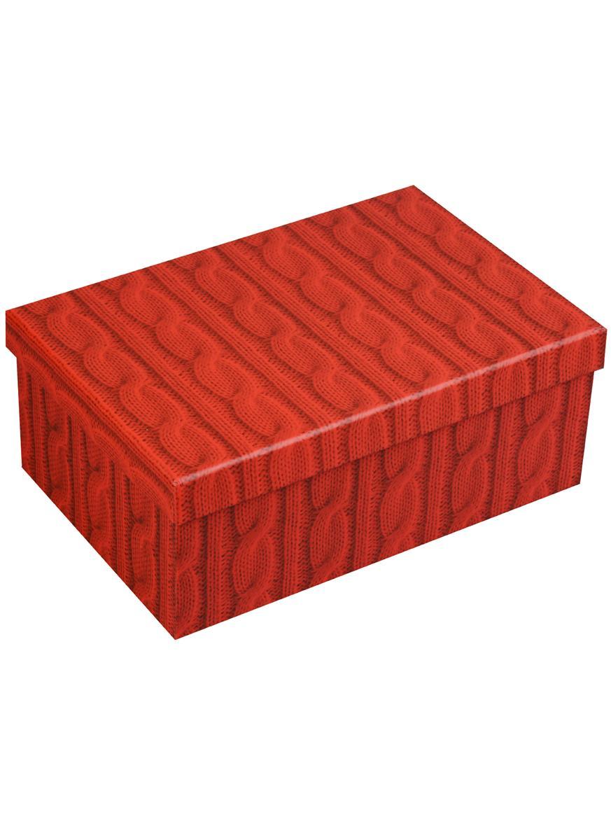 """Коробка подарочная """"Вязаные косички, красный"""", 21*14*8.5см"""