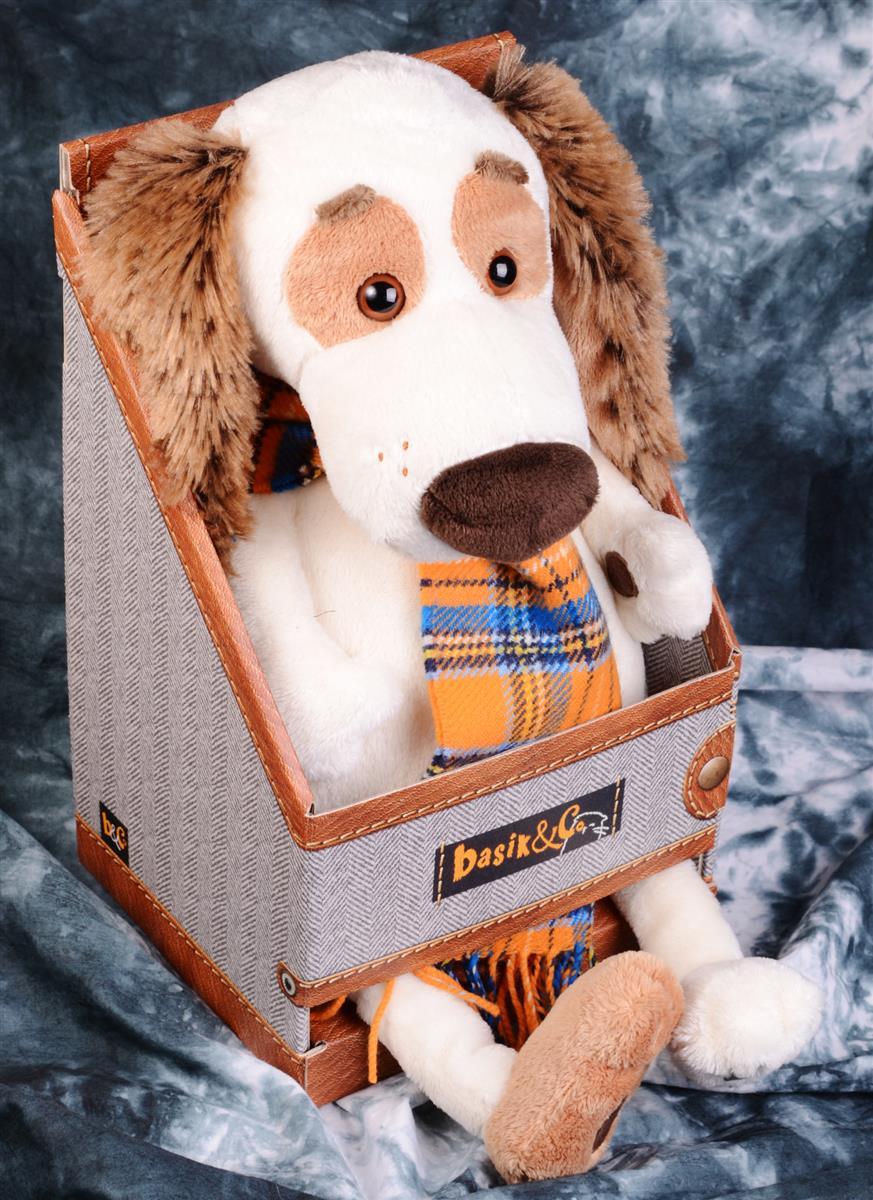 Мягкая игрушка Такса Бартоломей в шарфе (33 см)
