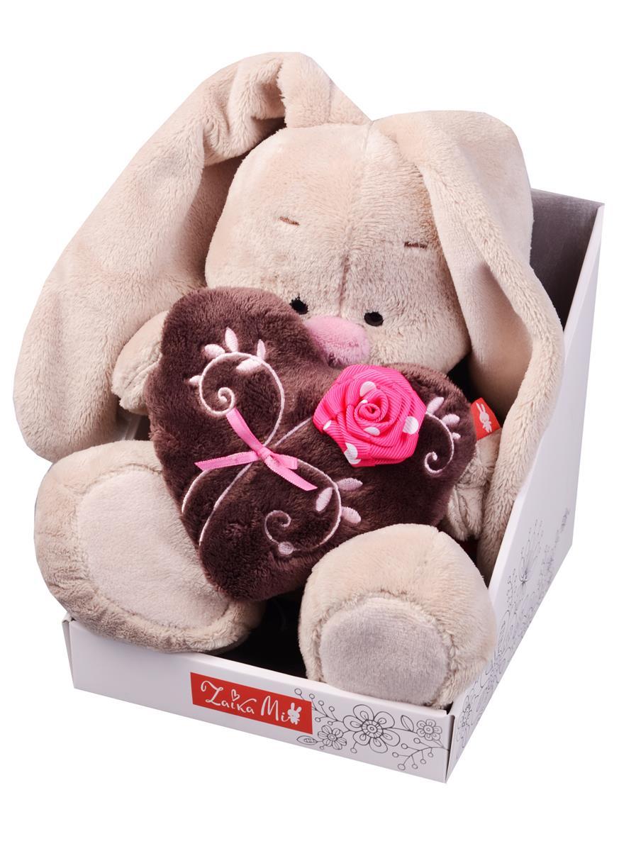 Мягкая игрушка Зайка Ми с коричневым сердечком с розочкой (18 см)
