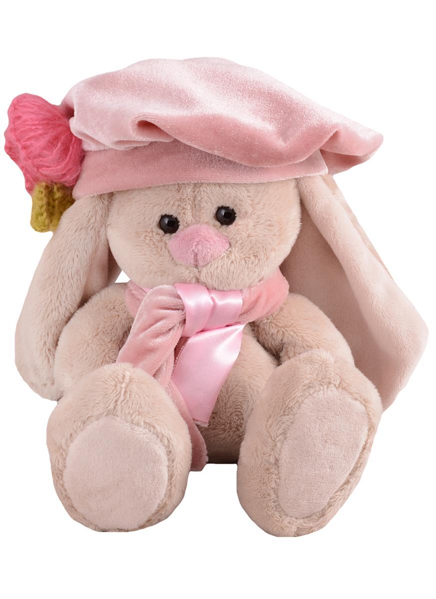 Мягкая игрушка Зайка Ми в берете с вязаным цветком (15 см)