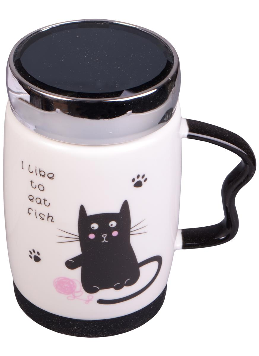 Термокружка с зеркальной крышкой Коты I like (350мл) (коробка)