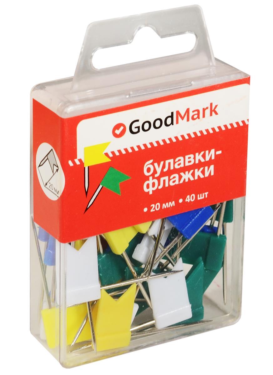 Булавки 40шт флажки, ассорти, пл/уп, GoodMark