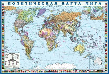 Политическая карта мира с флагами. Крым в составе РФ