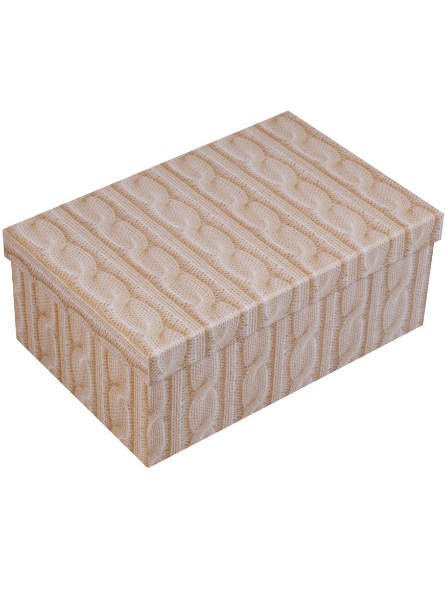 """Коробка подарочная """"Вязаные косички, кремовый"""", 21*14*8.5см"""