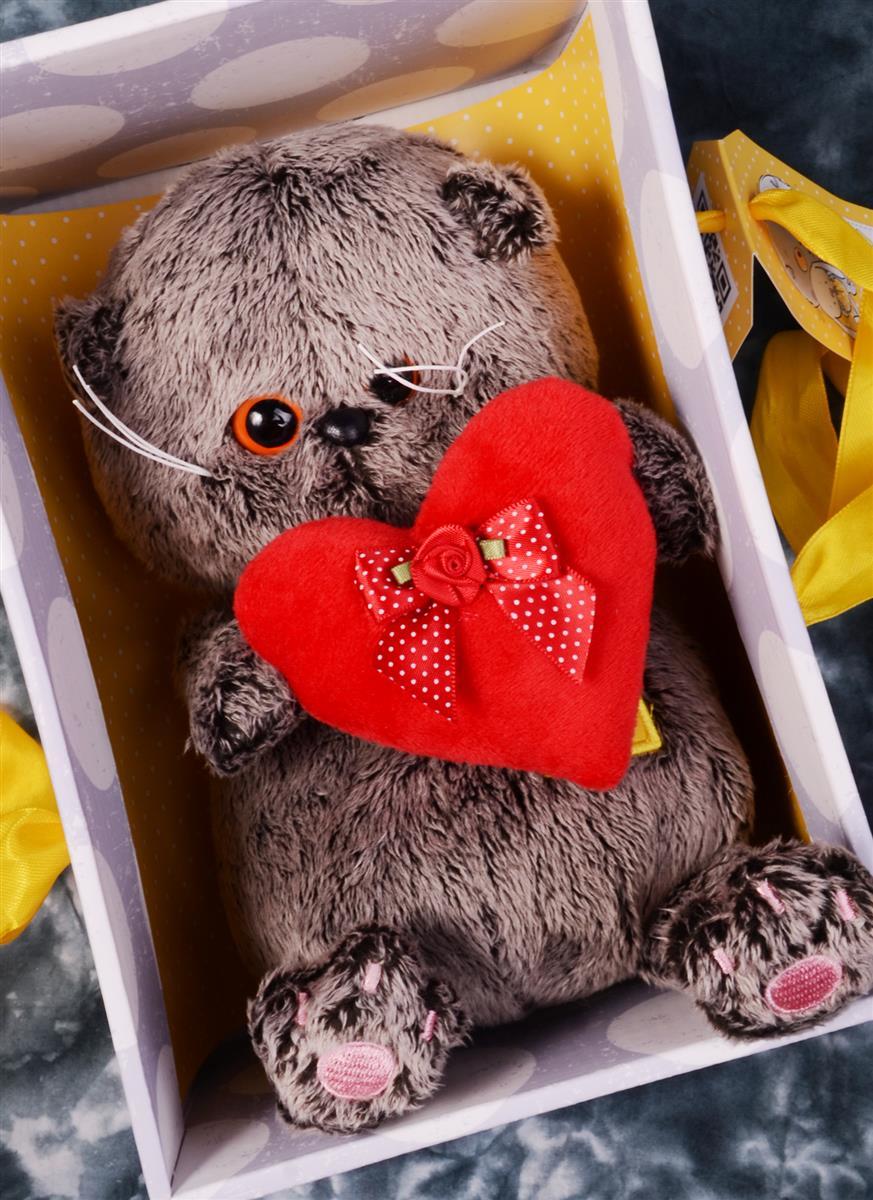 Мягкая игрушка Басик BABY с красным сердечком (20 см)