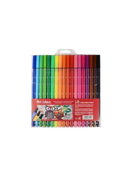 Ручки капиллярные 18цв 0,5мм, блистер, Art idea