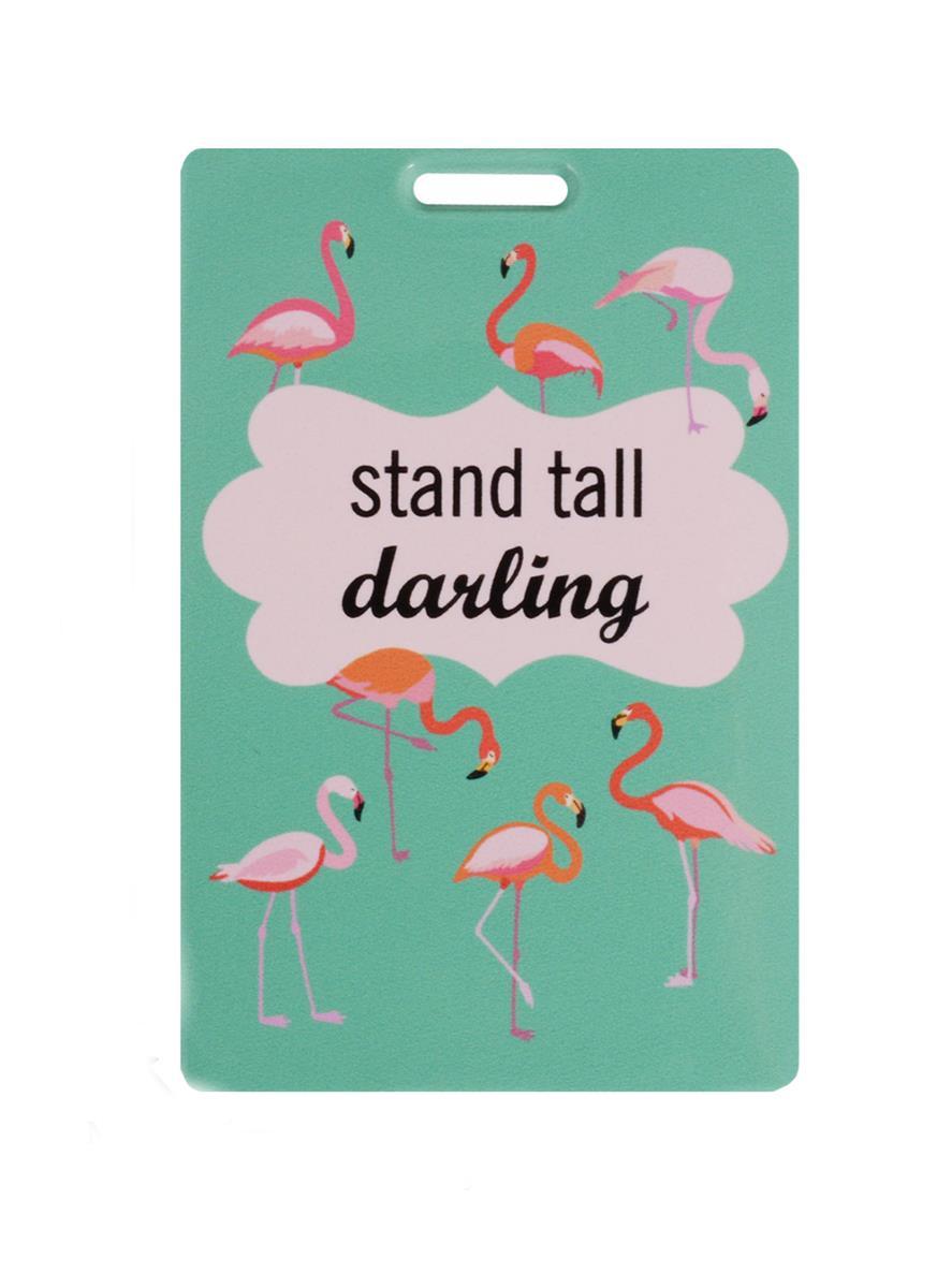 Чехол для карточек Фламинго на зеленом фоне