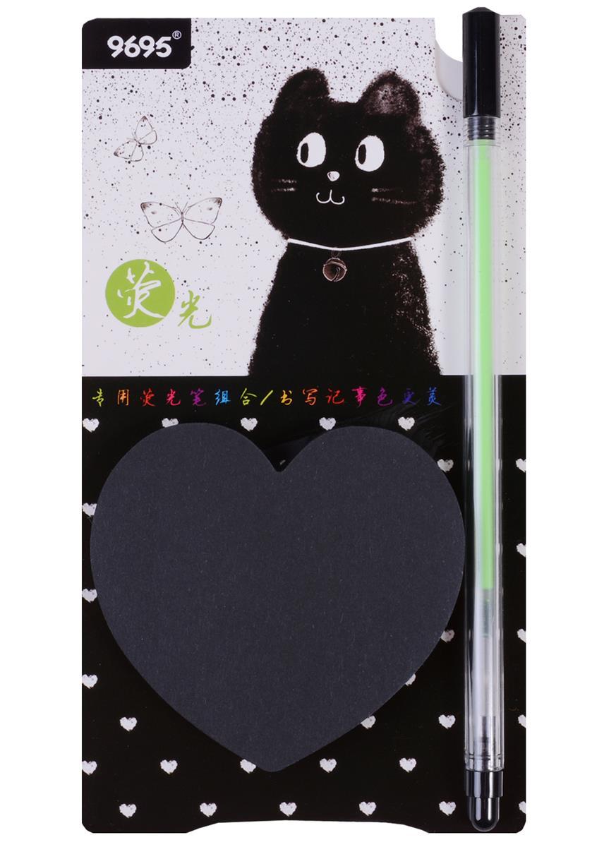 """Блок бумаги самоклеящийся 76*76 """"Naughty cat"""" 50л, с ручкой"""