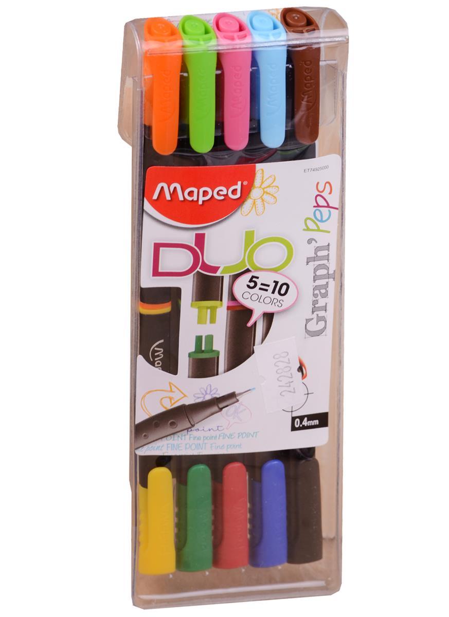Ручки капиллярные двусторонние Graph Peps DUO, 10 цветов