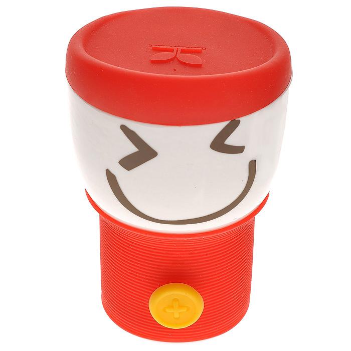 Кружка с силиконовой крышкой Smylie Guy, красная (110WG-1-234-3) (Ритейл Айдиа)