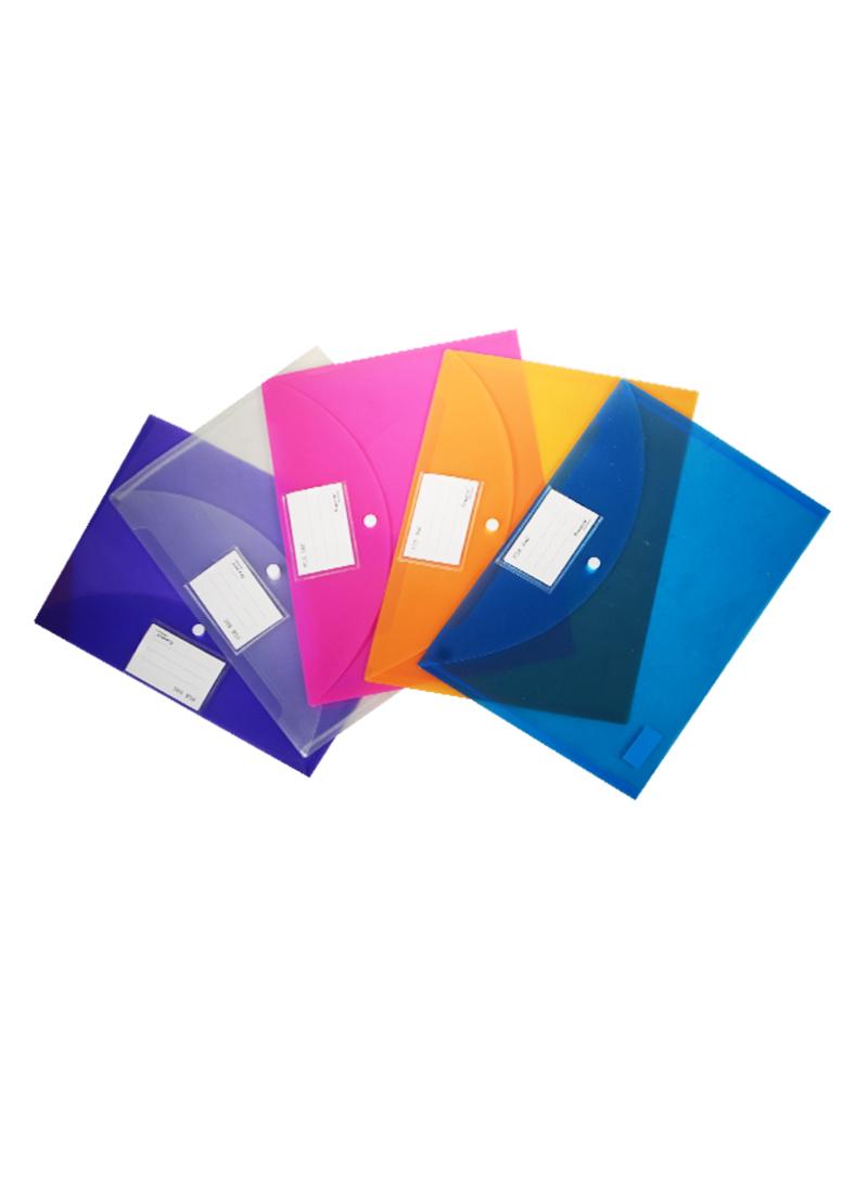 Папка-конверт А4 на кнопке, карман д/визитки, полупрозрачный, ассорти