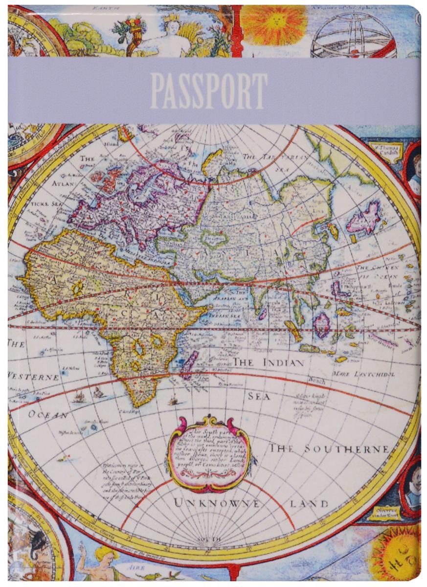 Обложка для паспорта Старинная карта мира (ПВХ бокс)
