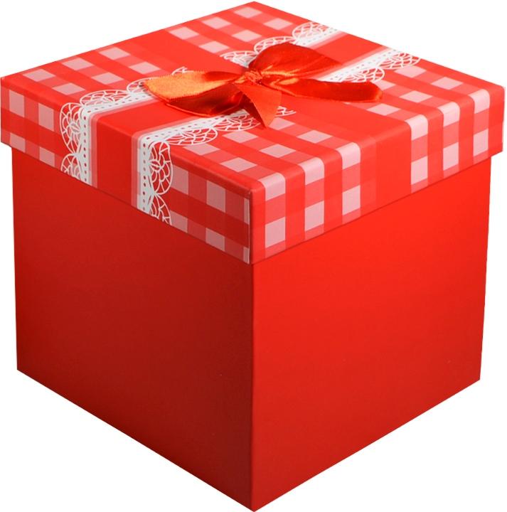 """Коробка подарочная """"Бант на красной клетке"""" 17,5*17,5*18см"""