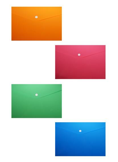 Папка-конверт А4 на кнопке, пластик 0,35мм, ассорти
