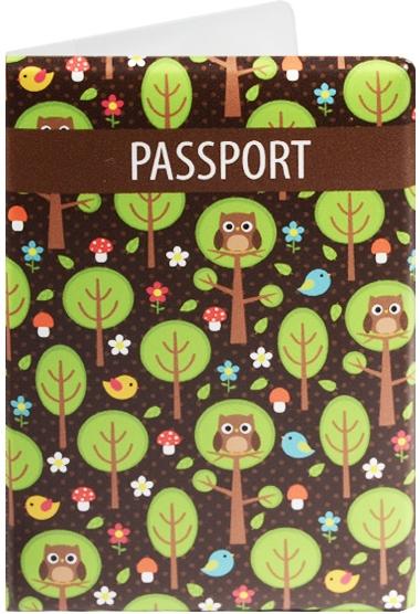 """Обложка для паспорта """"Совы и птички в лесу"""""""