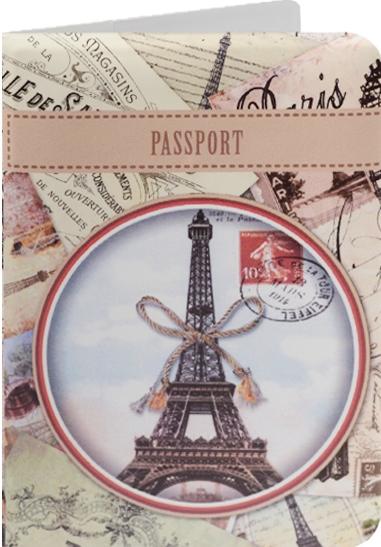 """Обложка для паспорта """"Эйфелева башня с бантом"""""""