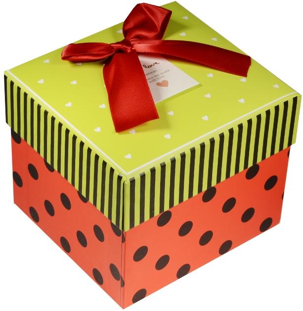 """Коробка подарочная """"Сердечки и горошек"""" зеленая крышечка 11*10*8.5см"""
