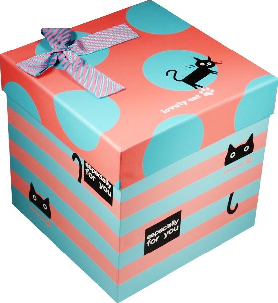 """Коробка подарочная """"Cat"""" розовая с голубым 16,5*16,5*16,5см"""