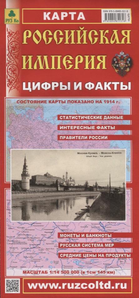 Российская Империя. Цифры и факты. Карта. Масштаб 1:14500000 (в 1 см 145 км)
